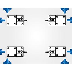 Módulo de pesagem compressão - Montagem retangular com 4 módulos de pesagem